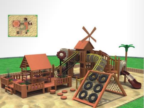 湖南戶外大型儿童玩具木質滑滑梯組合 2