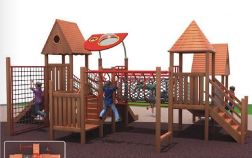 湖南戶外大型儿童玩具木質滑滑梯組合 4