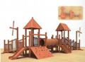 湖南戶外大型儿童玩具木質滑滑梯組合 5
