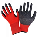 13G polyester latex crinked palm safety gloves 1