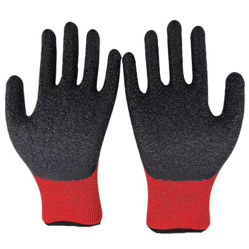 13G polyester latex crinked palm safety gloves 2