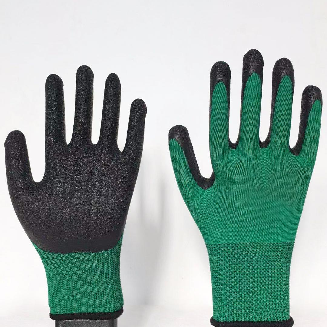 13G polyester latex crinked palm safety gloves 3