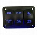 12-24V Radium Carving Pattern 3 Rocker Switch Panel 1