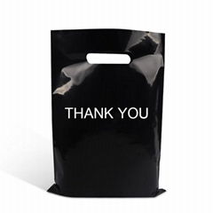 custom HDPE die cut side gusset handbag for shopping