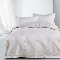 High Quality White 100% Combed Cotton Hotel Customized Checks Duvet Cover