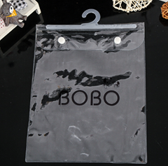 clear PVC T shirt packing garments hanger bags with button closure