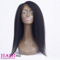 Kinky Straight long Human Hair Wigs Lace Front Closure Wholesale Wigs