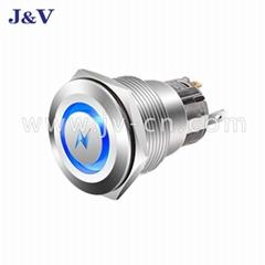 J&V Metal High Head Self-locking High Head White Wave Push Button Switch 22mm