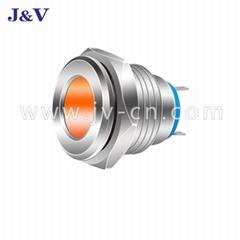 J&V LED Metal Indicator Light 14mm Waterproof Signal Red Source Working Light