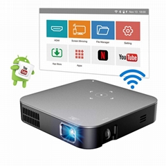 DLP portable mini projector S200  Android 7.1 home theater wifi mirror for phone