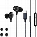 USB Type-C In-Ear Earbuds with Microphone - Wired Powerful Bass HiFi Sound Stere