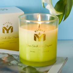 Scented Candle  Green Tea & Lime Fragrance  7.07 Oz Soy Wax 40 Hours Long L