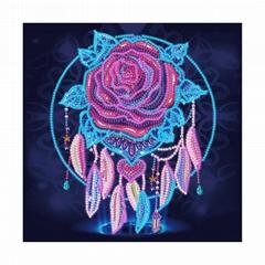 Luminous Diamond Rose Flower photo Night Light Abstract Wholesale Canvas Paintin