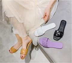 粘胶鞋粗跟一字型拖鞋