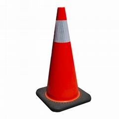 Roadway Safety PVC Orange Reflective Film Parking Barrier Traffic Road Cone