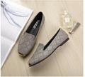 Square toe flat shoes women's imitation plaid woven shallow mouth lazy shoes