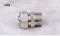 brass pipe fittings pex fitting hydraulic hex nipple T type tee quick connector