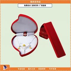 wholesale heart shape wedding gift box high quality flocking ring box