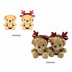 Factory OEM kawaii Stuffed Antler Bear Plushie Pillow Kids Plush Christmas Toys