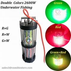 2600W 15M Double Colors Night fishing LED Bait light Fishing Lure Lamp