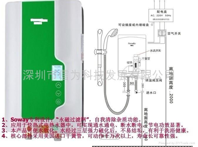 即热式电热水器专用四分接口磁性水流开关 塑料流量开关W131 6