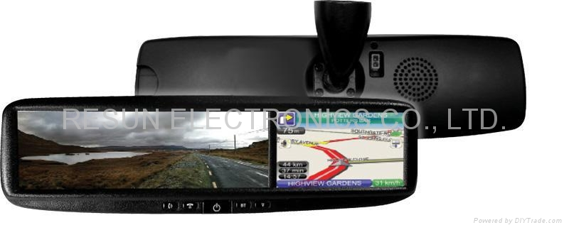 Car Rearview Mirror with 4.3 inch LCD Touch Screen GPS Navigation Bluetooth 3