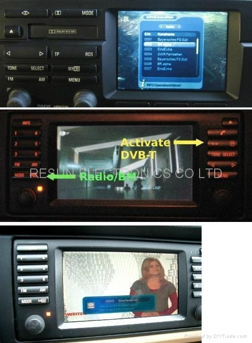 Car DVB-T TV Tuner which connected with original BMW E46 navigation