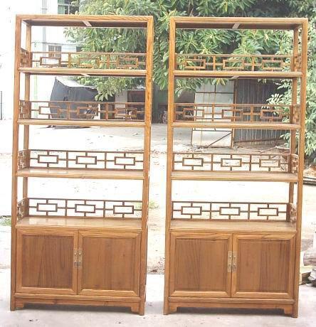 榆木,樟木傢具,榆木書架 1
