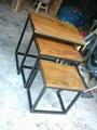 wood top iron base nesting table