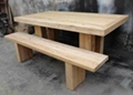 solid elm wood dining table and bench
