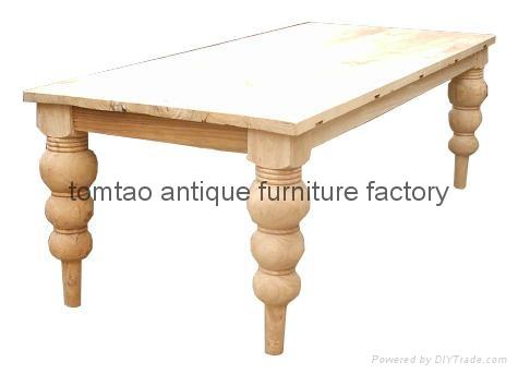 European Style Raw Elm Wood Dining Table #6155 1