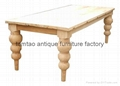 European Style Raw Elm Wood Dining Table