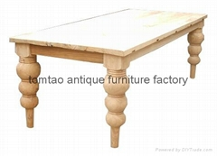 European Style Raw Elm Wood Dining Table #6155