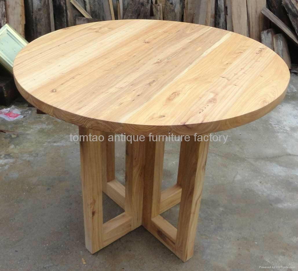 Rustic Round Wood Dining Table Wholesale #6588 2