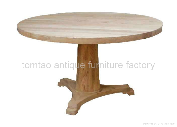 One Leg Round Wooden Dining Table Wholesale #6533 1 ...