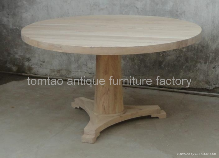 One Leg Round Wooden Dining Table Wholesale #6533 2
