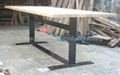 wood top iron base Dining Table #6877