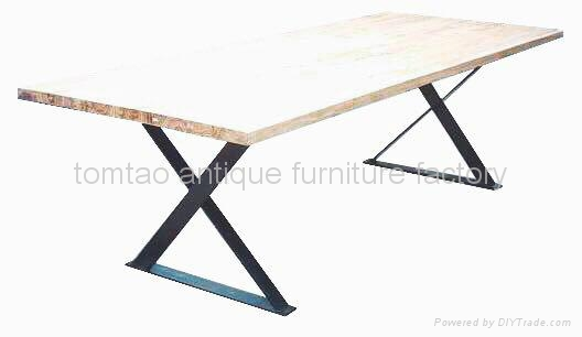 Reclaimed Wood Top, Iron Base Dining Table #6855
