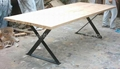 Reclaimed Wood Top, Iron Base Dining Table #6855 2