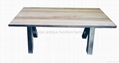 Wooden Table Top, Iron Base Dining Table #6833