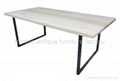 Wood top iron base Dining Table #6822 1