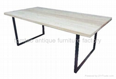 Wood top iron base Dining Table #6822