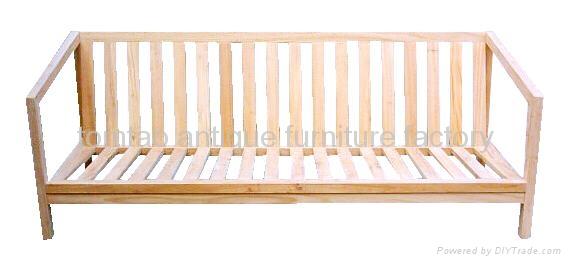 3 Seat Reclaimed Elm Wood Sofa,with cushion 1