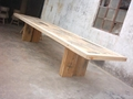 rustic looking recycled wood dining table