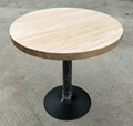 wood top iron base bar table