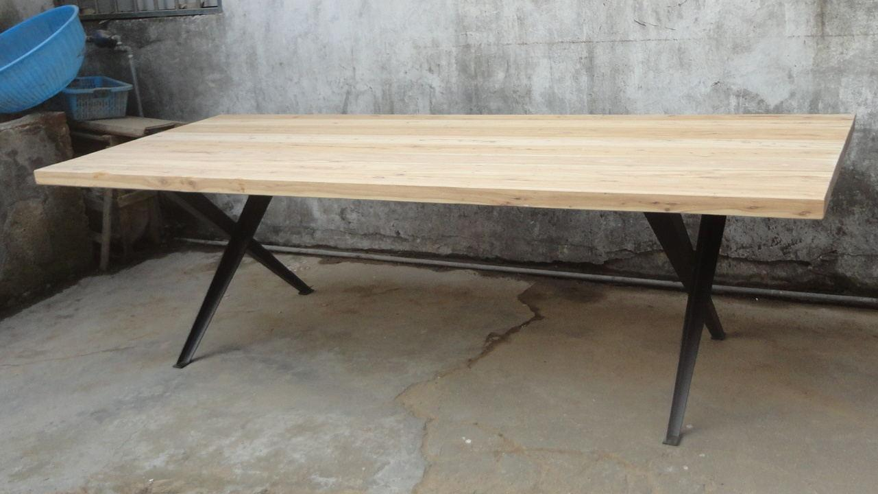 wood top iron base dining table 1