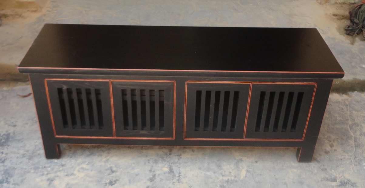 榆木黑色做旧电视柜 1