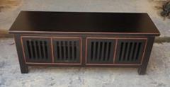 榆木黑色做舊電視櫃