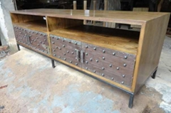 elm wood TV stand with iron base and decoration