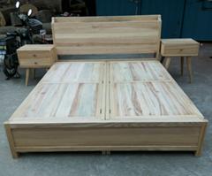 榆木香樟木大床,带两个储物箱